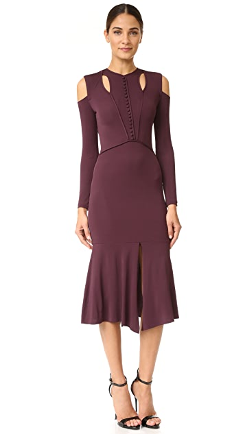 Yigal Azrouel Cold Shoulder Matte Jersey Dress