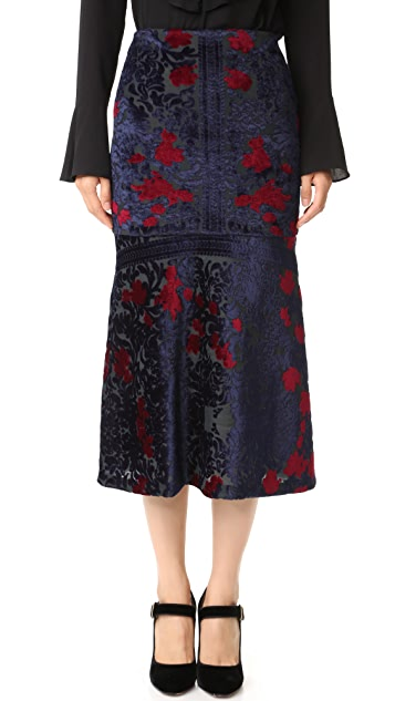 Yigal Azrouel Engineered Burnout Velvet Tulip Skirt