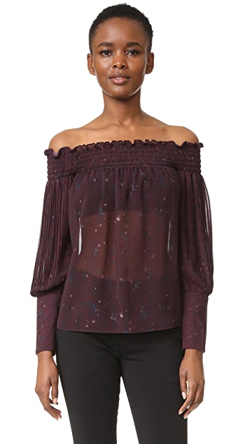 Yigal Azrouel Floral Paisley Off Shoulder Pleated Top
