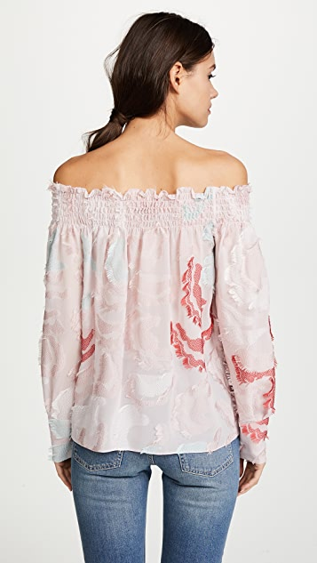 Yigal Azrouel Off the Shoulder Smocking Top