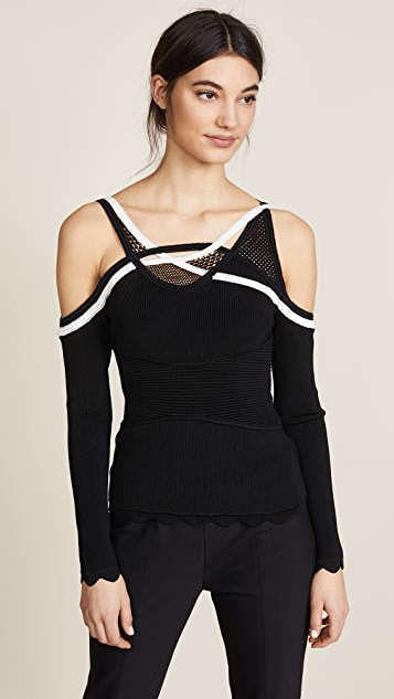 Yigal Azrouel Coiling Trim Cold Shoulder Knit Top
