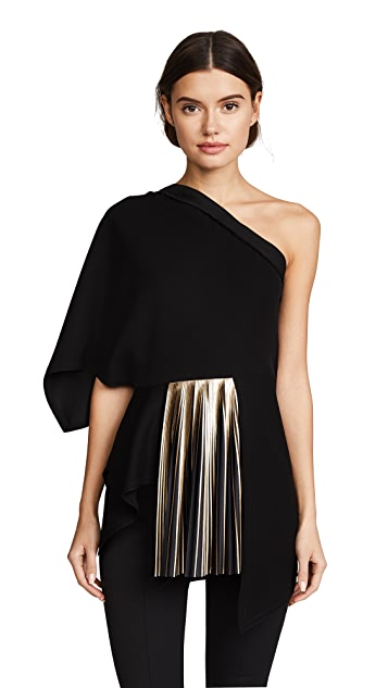 Yigal Azrouel One Shoulder Top with Foil Pleats