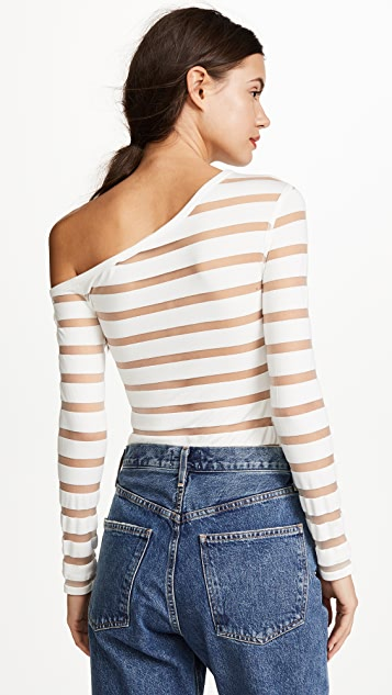 Yigal Azrouel One Shoulder Sheer Stripe Knit Top