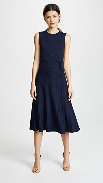 Yigal Azrouel Wrap Front Pleated Skirt Dress - Navy Blue
