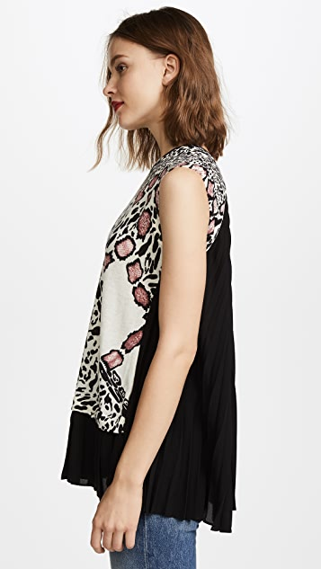 Yigal Azrouel Animal Print Pleated Hem Top