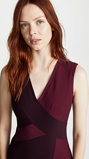 Yigal Azrouel Two Tone Mechanical Stretch Dress