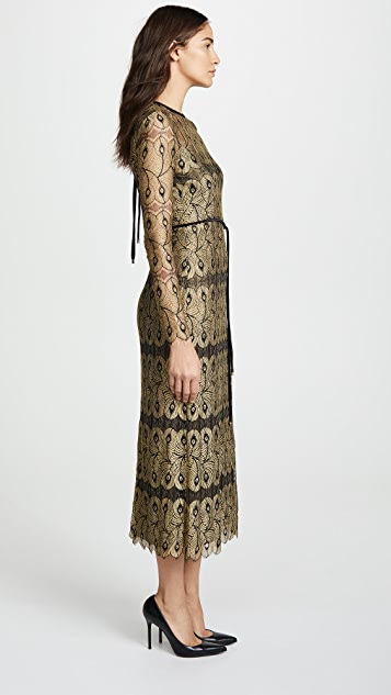 Yigal Azrouel Peacock Lace Dress with Open Back