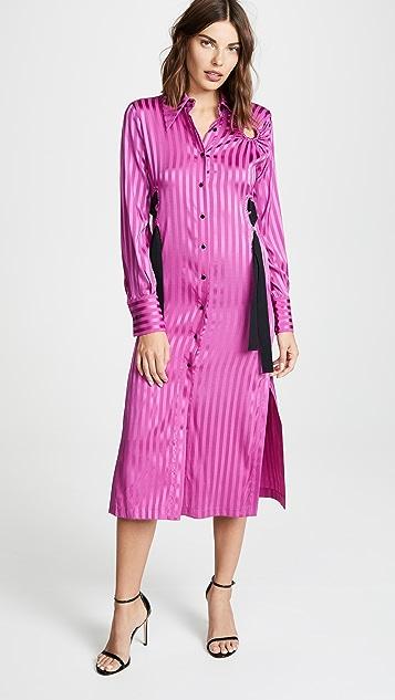 Yigal Azrouel Шелковое платье-рубашка в полоску