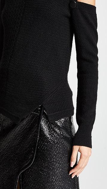 Yigal Azrouel Asymmetrical Button Detail Cashmere Sweater