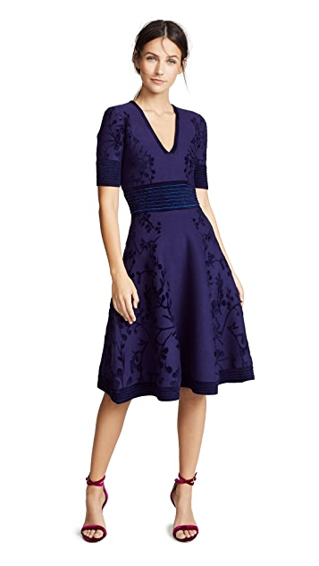 Yigal Azrouel Deep V Neck Jacquard Knit Dress