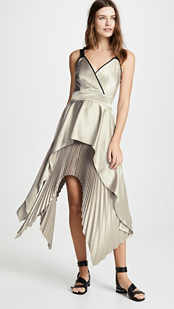 Yigal Azrouel Textured V Neck Pleat Dress