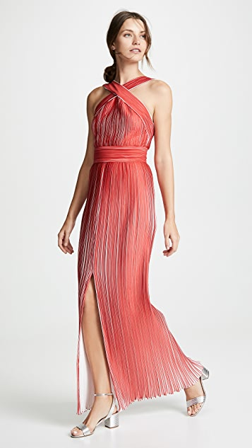 Yigal Azrouel Origami Pleated Halter Neck Dress