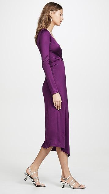 Yigal Azrouel Long V Neck Dress with Cascade