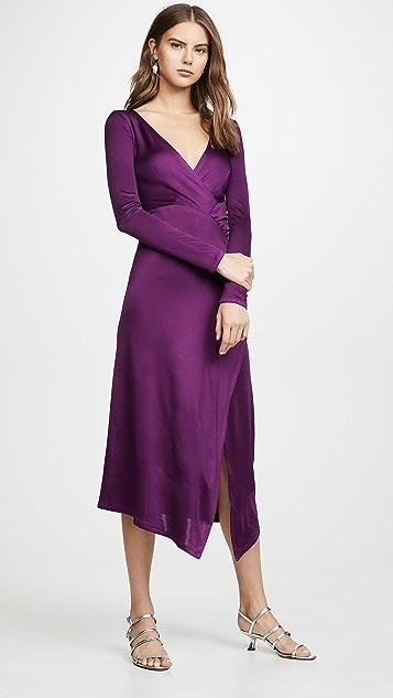 Yigal Azrouel 配有层叠裙身的 V 领长袖连衣裙