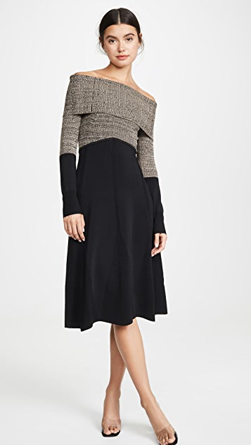Yigal Azrouel Colorblock Off Shoulder Midi Dress