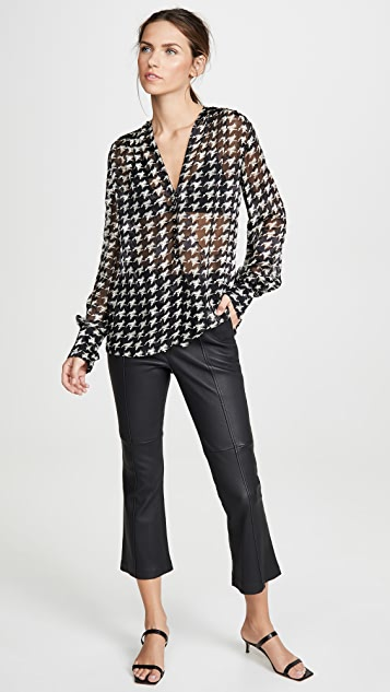 Yigal Azrouel Houndstooth Burnout V Neck Blouse