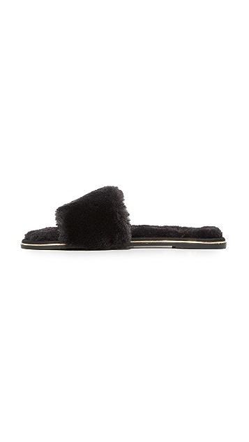 Yosi Samra Rose Faux Fur Slides