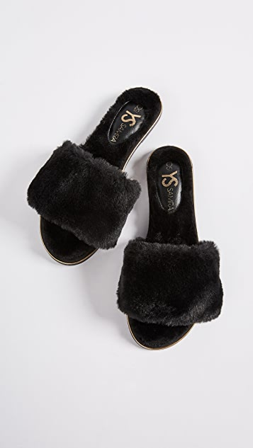 Yosi Samra Rose Faux Fur Slides
