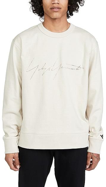 Y-3 Distressed Yohji Signature Crew Neck Sweatshirt