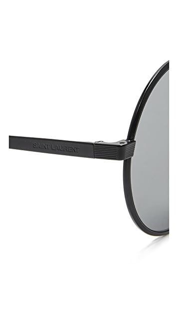Saint Laurent SL 136 Zero Base Round Mirrored Sunglasses