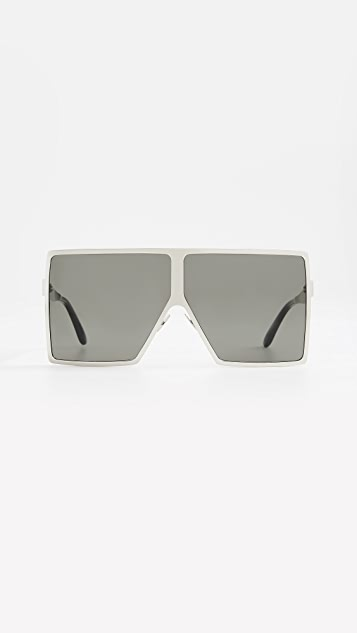 Saint Laurent SL 182 Metal Betty Sunglasses - Silver/Solid Grey