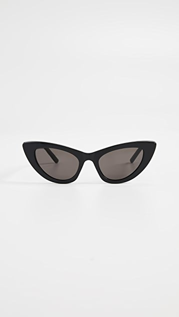 Saint Laurent SL 213 Lily Sunglasses - Black/Solid Grey