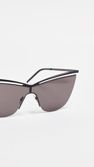 Saint Laurent Солнцезащитные очки «кошачий глаз» SL 249 в металлической оправе