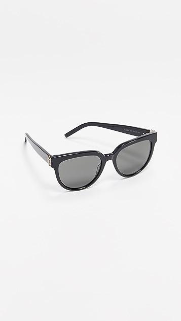Saint Laurent Ацетатные солнцезащитные очки «кошачий глаз» SL M28