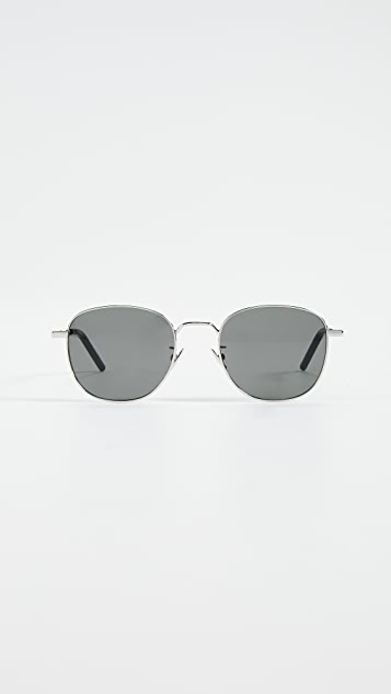 Saint Laurent Classic Soft Square Metal Sunglasses