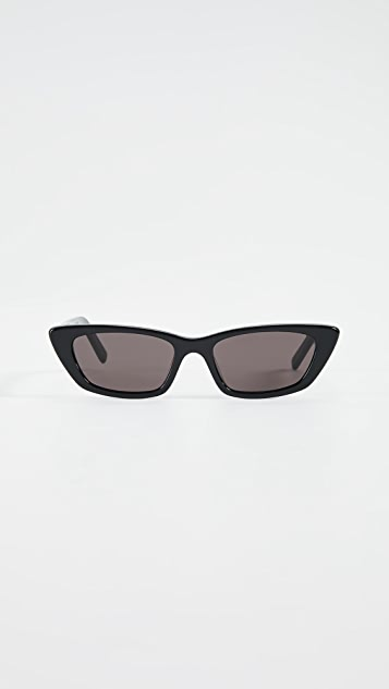 Saint Laurent Narrow Acetate Cat Eye Sunglasses