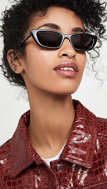 Saint Laurent Солнцезащитные очки «кошачий глаз» в узкой ацетатной оправе