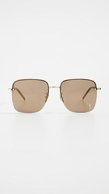 Saint Laurent Square Metal Sunglasses