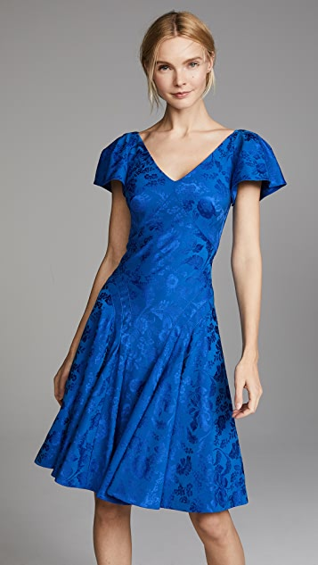 Zac Posen V Neck Flutter Sleeve Midi Dress