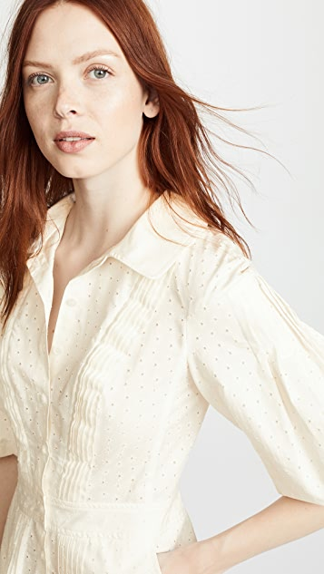 Zac Posen Puff Sleeve Shirt Dress