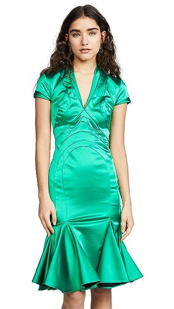 Zac Posen V Neck Satin Dress