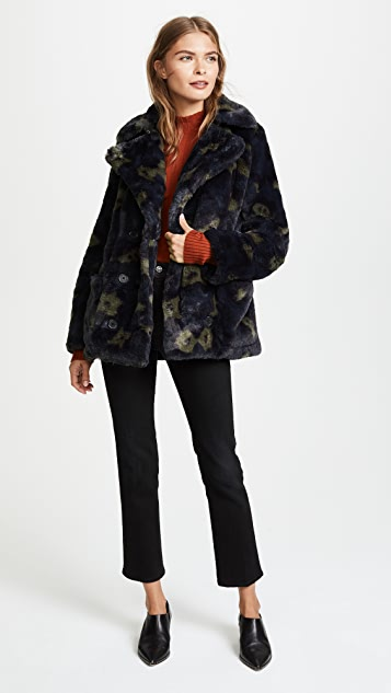 Zadig & Voltaire Miles Leopard Faux Fur Pea Coat