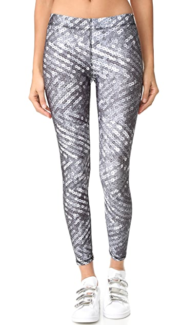 Terez Silver Sequins Performance Leggings