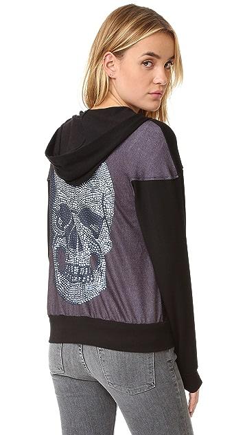 Terez Crystal Skull Zip Up Hoodie
