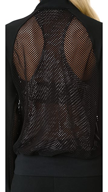 Terez Fishnet Back Bomber Jacket