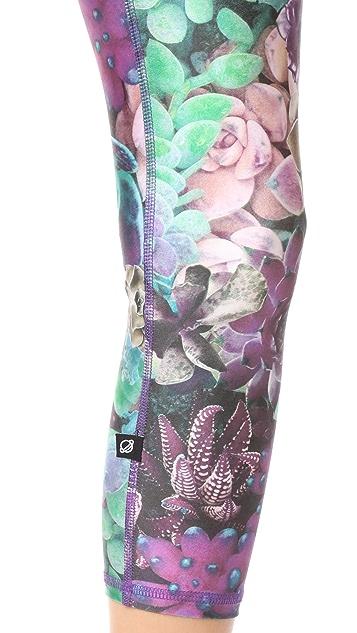 Terez Purple Succulent Performance Capri Leggings
