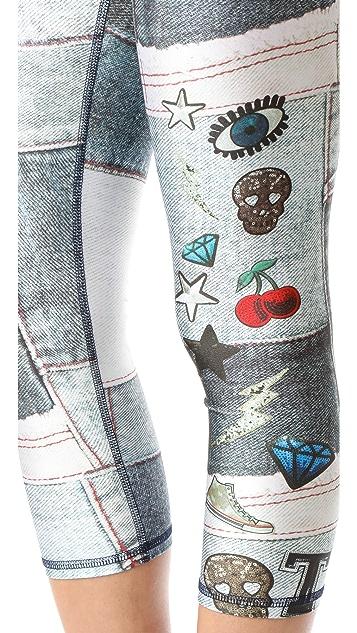 Terez Denim Sequins Patches Performance Capri Leggings