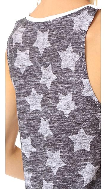 Terez Heathered Grey Stars Printed Muscle Tee
