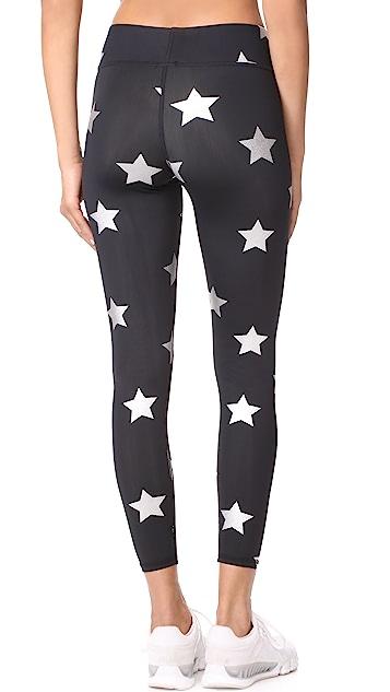 Terez Silver Star Foil Tall Band Leggings