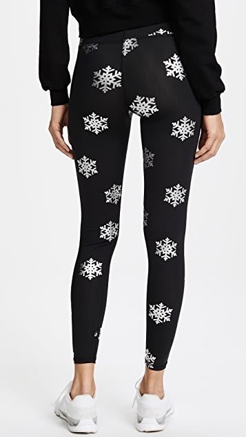Terez Foil Snowflake Print Leggings