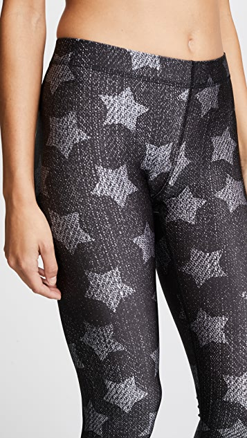 Terez Black Denim Stars Performance Leggings