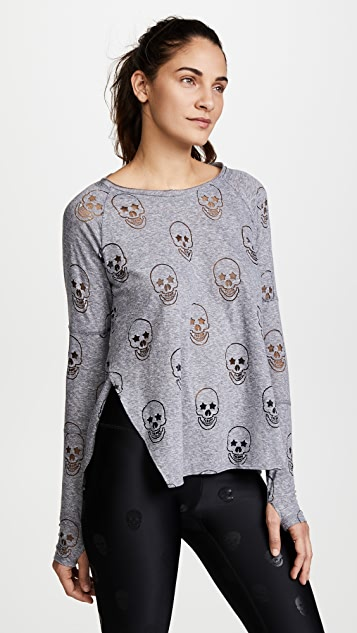 Terez Gray Starry Eyed Burnout Tee