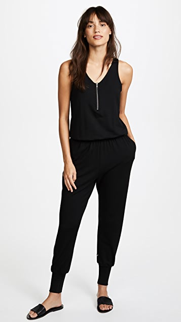 Terez Black Quarter Zip Jumpsuit