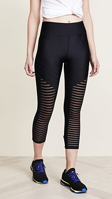 Terez Black Striped Mesh Front Capri Leggings