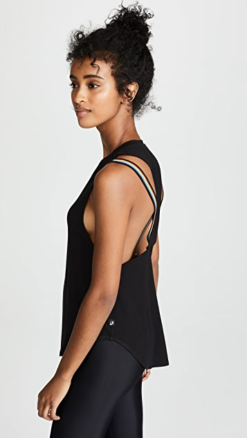 Terez Muscle Tank with Rainbow Trim
