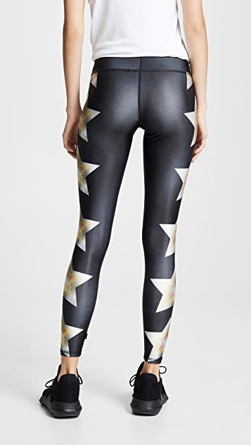 Terez Metallic Stars Tall Band Leggings